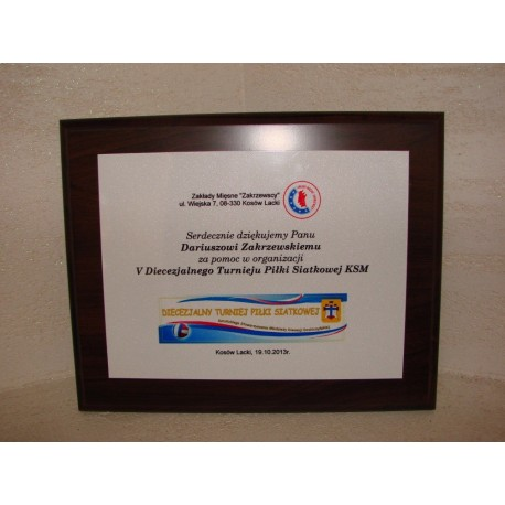 Dyplom, podziękowanie, certyfikat, drewniany z nadrukiem kolor, 20x25cm