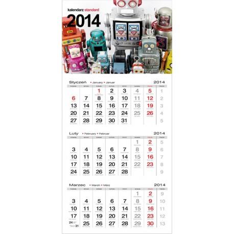 Kalendarz trójdzielny standard, kalendarze trójdzielne, kalendarz reklamowy