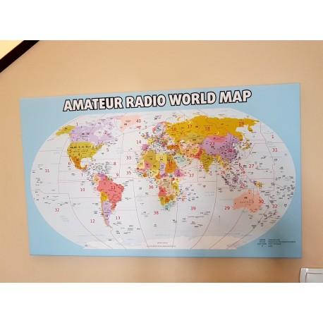 Krótkofalarska mapa świata z prefiksami, fotoobraz na płótnie, oprawiona mapa świata, amateur radio world map