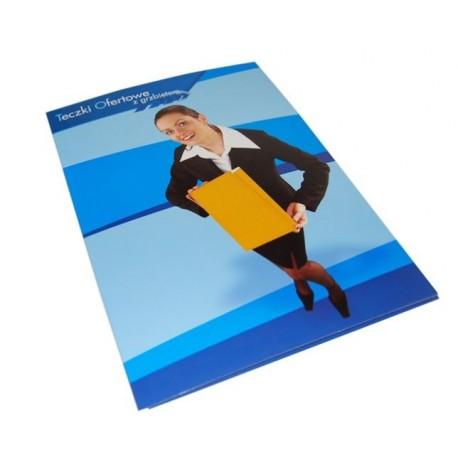 Teczki ofertowe A4 karton 300g, kolor 4+1, folią błysk, 500szt., projekt gratis